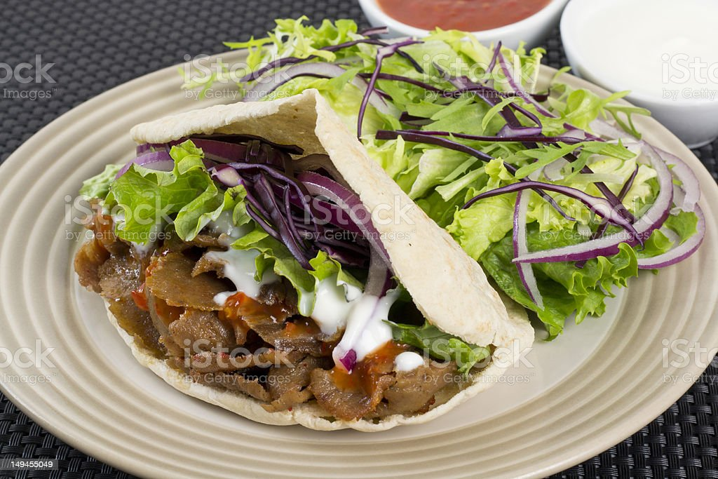 Donner kebab and gyro on plate royalty-free stock photo