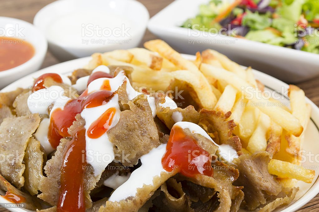 Donner Meat & Chips royalty-free stock photo
