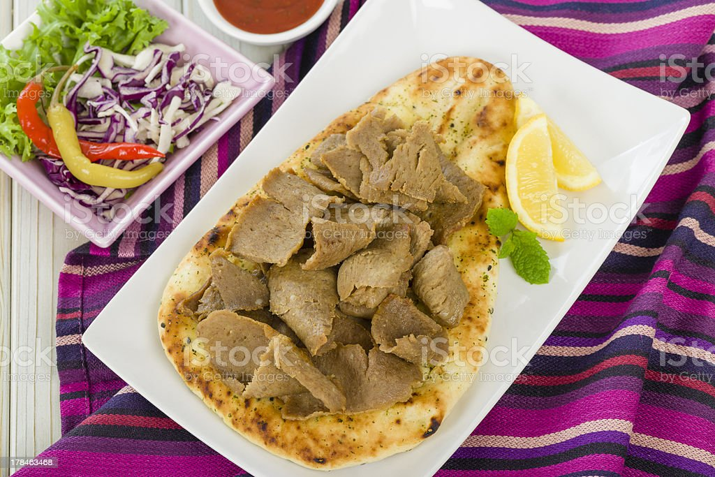 Donner Meat on Naan Bread royalty-free stock photo