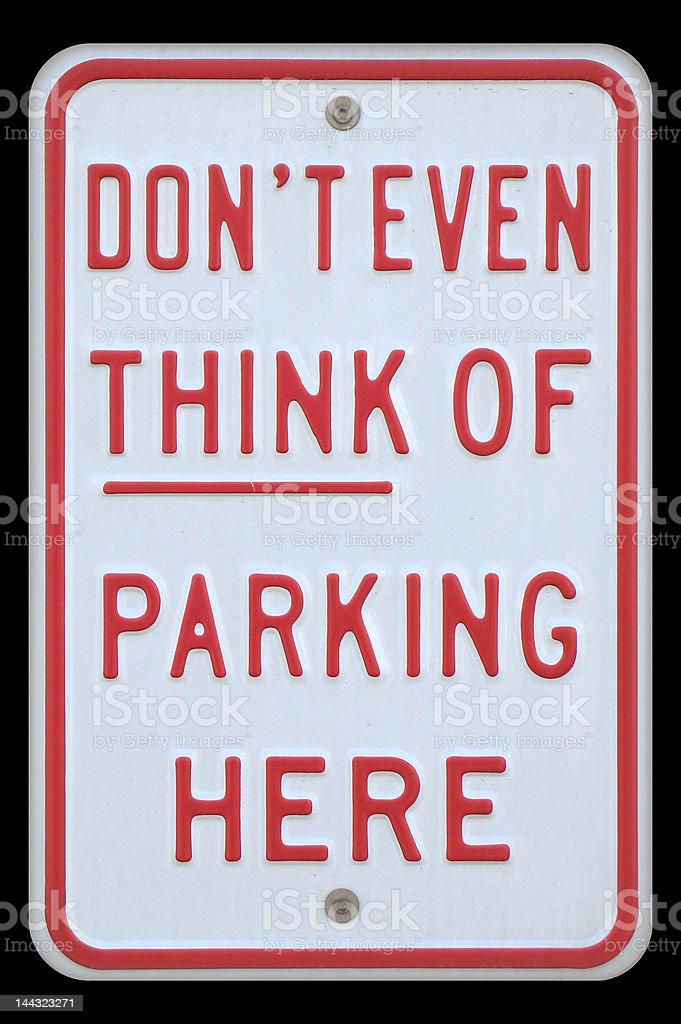 don't even THINK of parking here ! ( w/ path ) stock photo