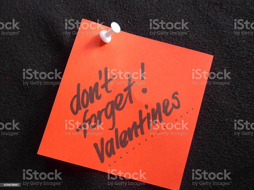 Recuerde: Día de San Valentín (nota foto de stock libre de derechos