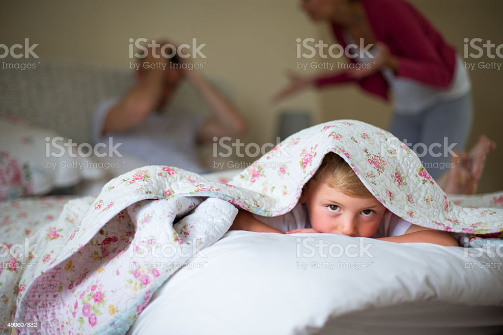 Don't like my parents arguing. stock photo