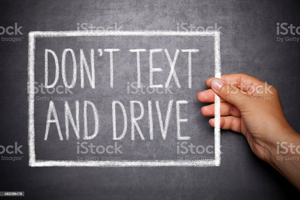 Don't text and drive stock photo