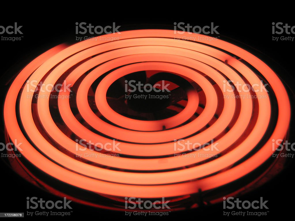 Don't Touch: Glowing Red-hot Burner Element on Stovetop royalty-free stock photo