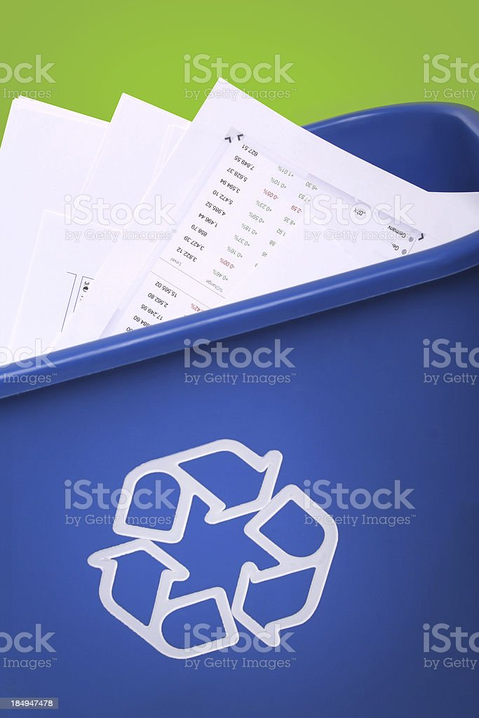 Dont trash paper, recycle! stock photo