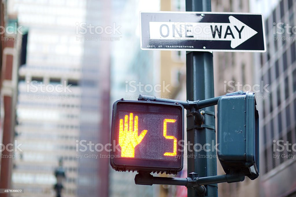 Don't walk New York traffic sign stock photo