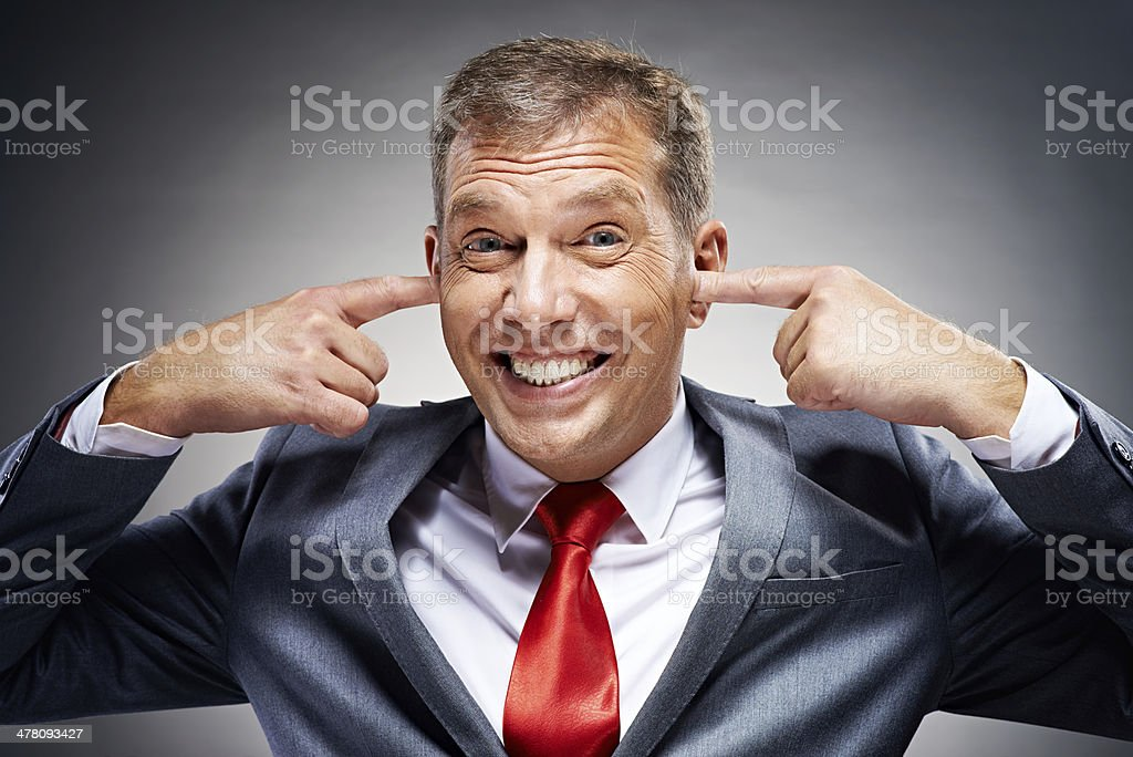 I don't want to hear it! stock photo