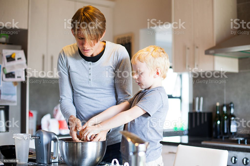 Dont worry mom, I can also bake! stock photo