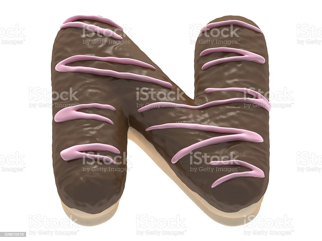 Donut font chocolate cream stock photo