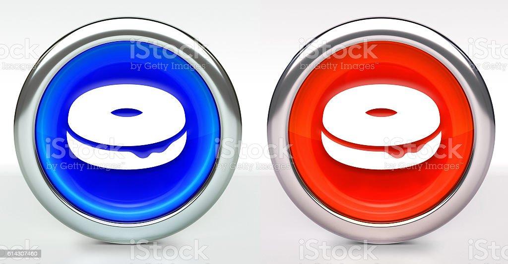Donut Icon on Button with Metallic Rim stock photo