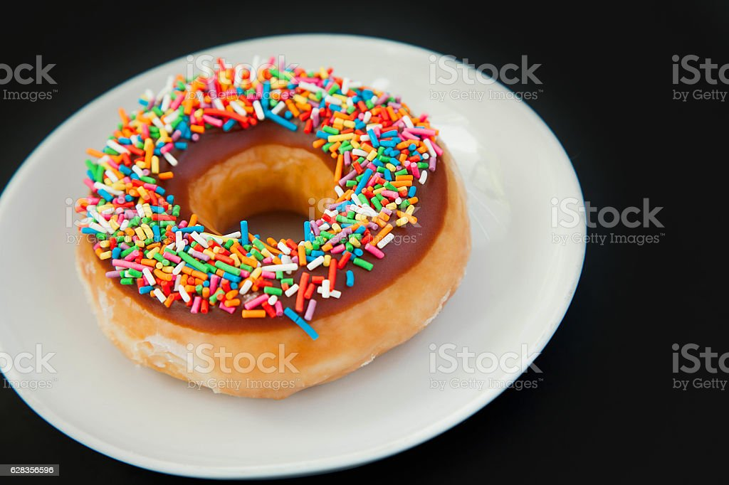 donut on the black background royalty-free stock photo
