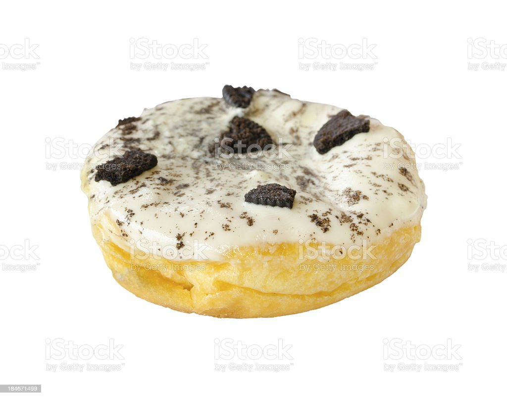 Donut with chocolate cookies topping isolated on white (clipping path) royalty-free stock photo