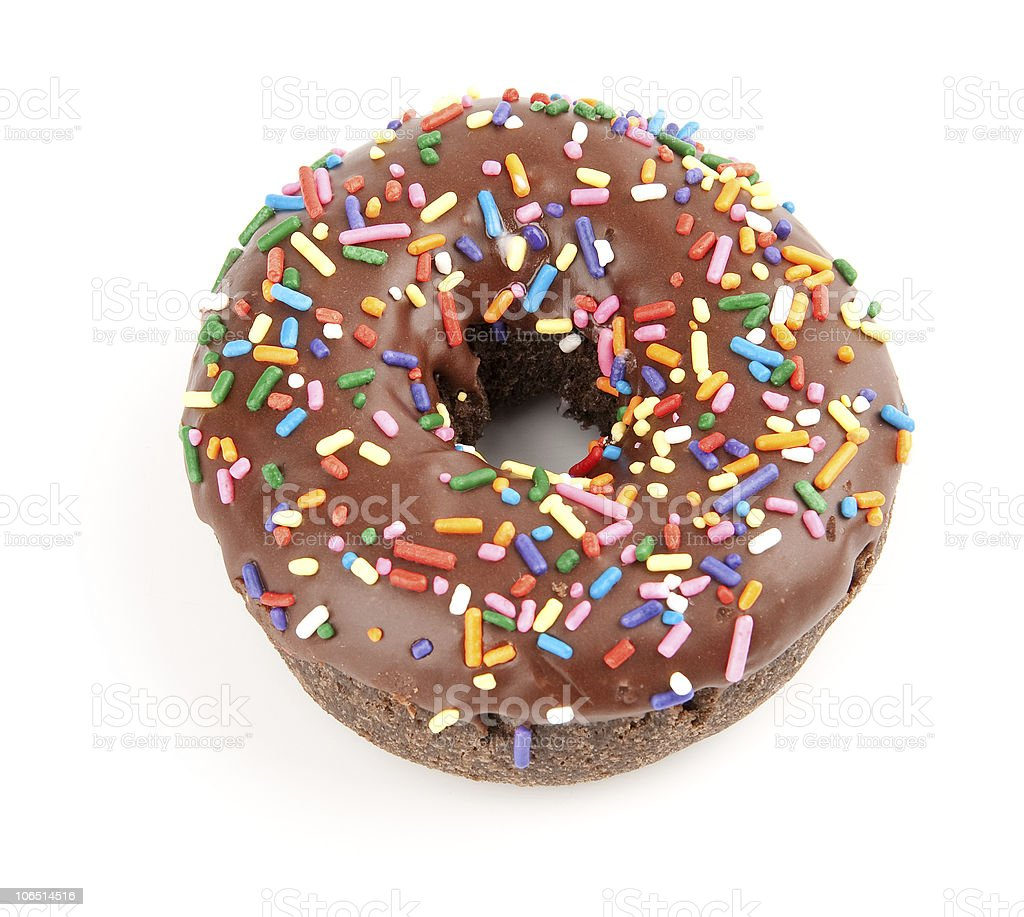 Donut with chocolate icing royalty-free stock photo