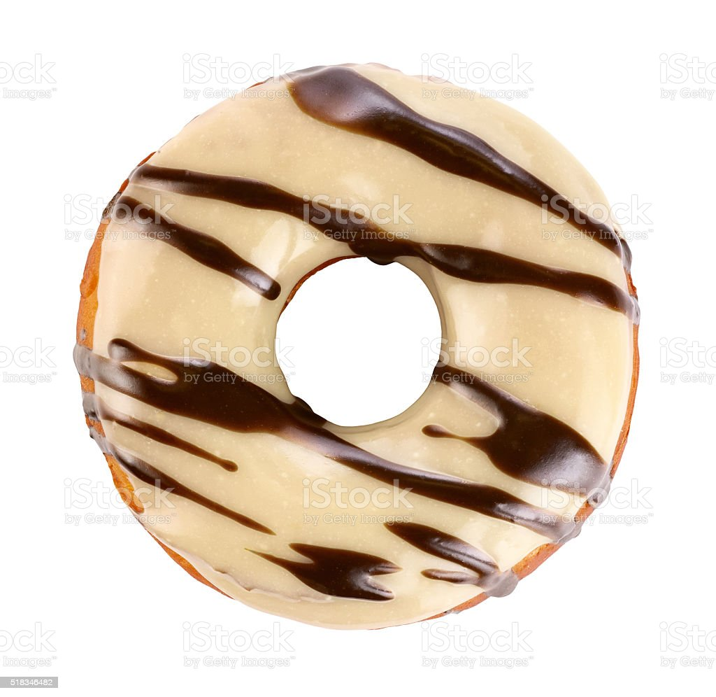 Donut with white chocolate glaze, isolated on white background. stock photo