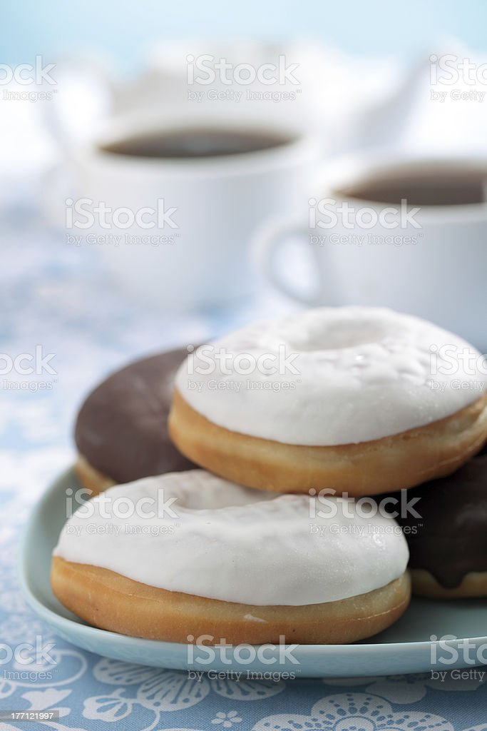 Donuts and tea royalty-free stock photo