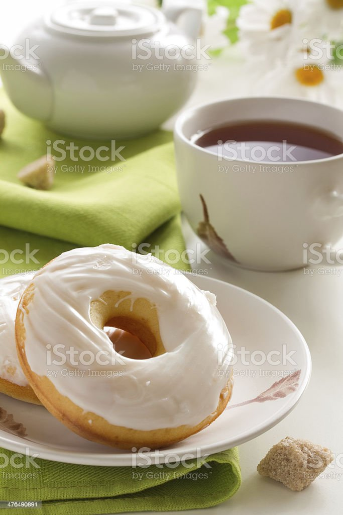 Donuts and tea. royalty-free stock photo