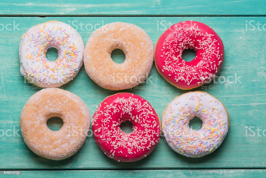 Donuts in a row stock photo