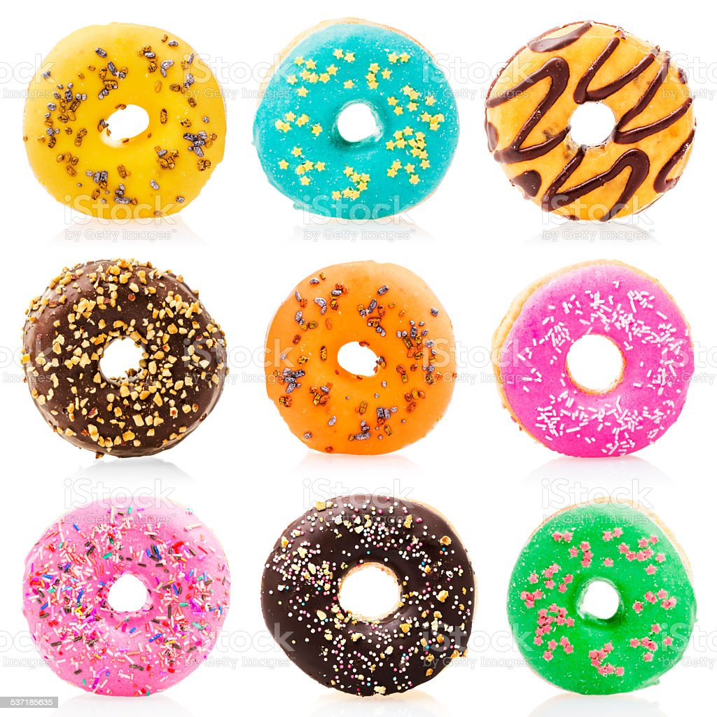 Donuts isolated on white background stock photo