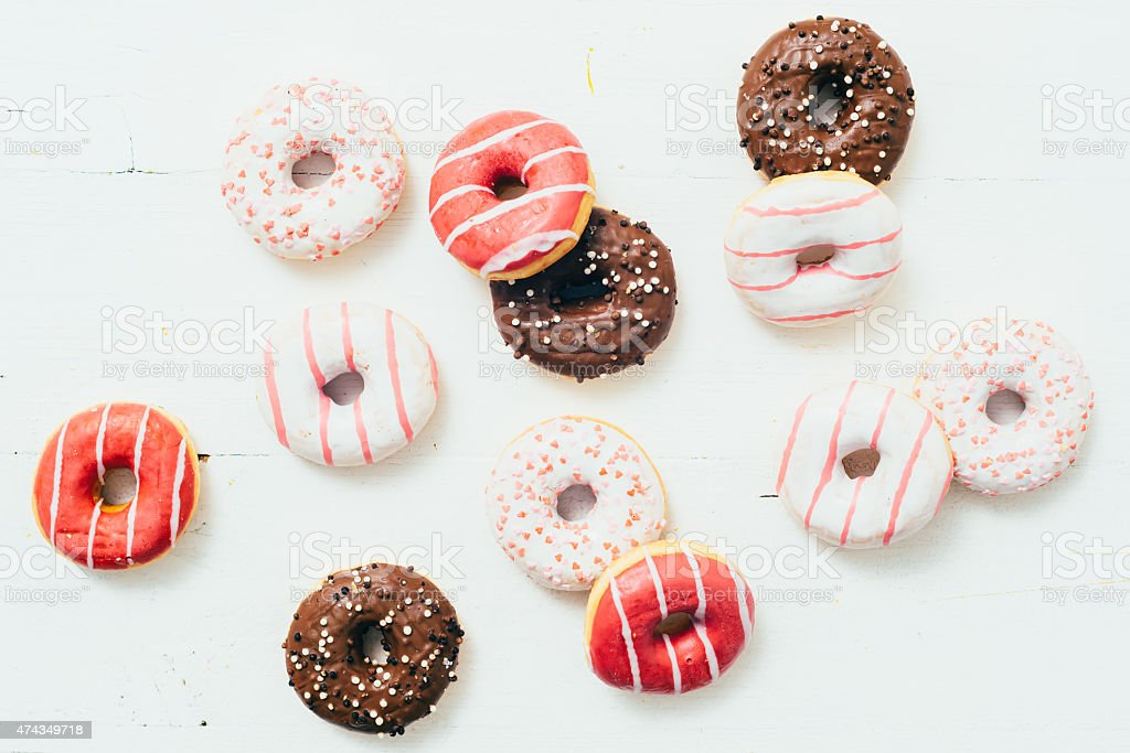 Donuts On A White Table stock photo