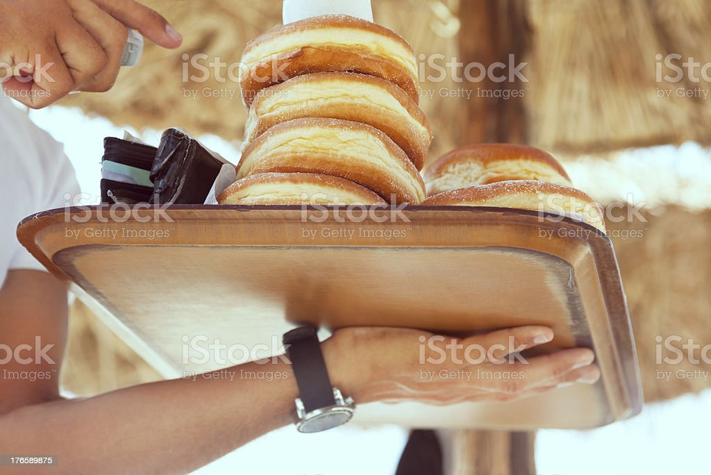 Donuts on beach royalty-free stock photo