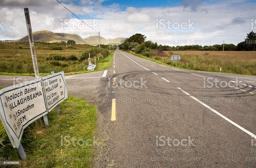 Donuts on Kerry roads stock photo