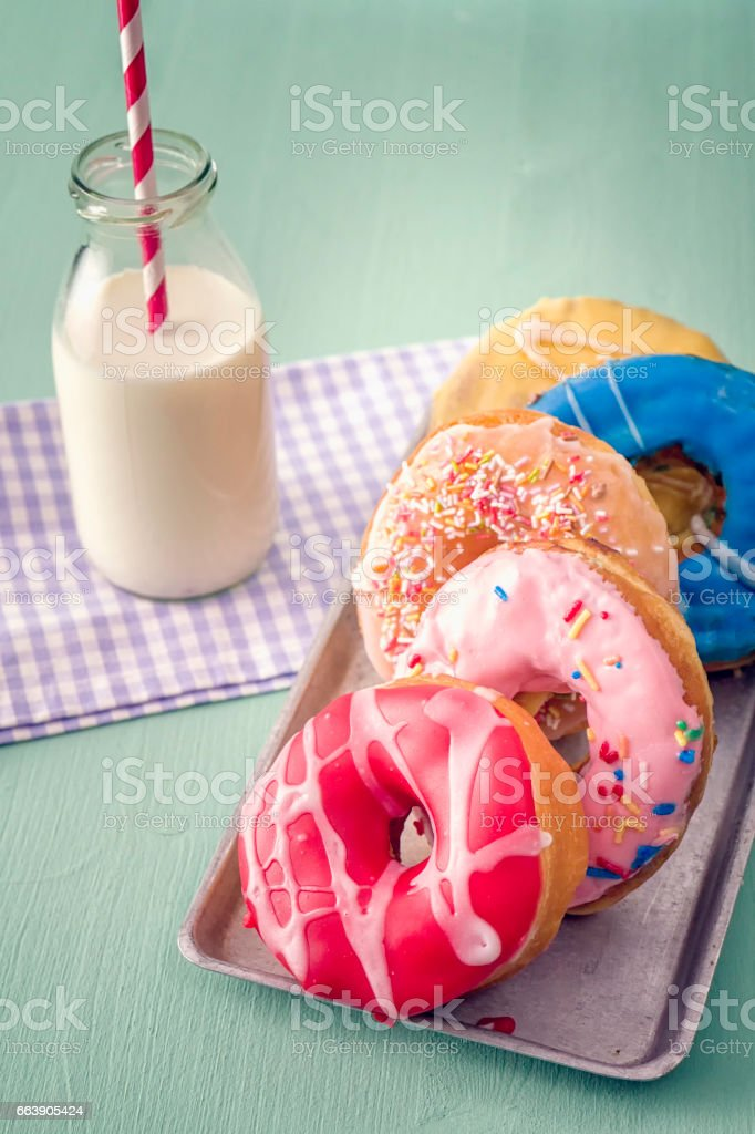Donuts with Icing and Chocolate stock photo