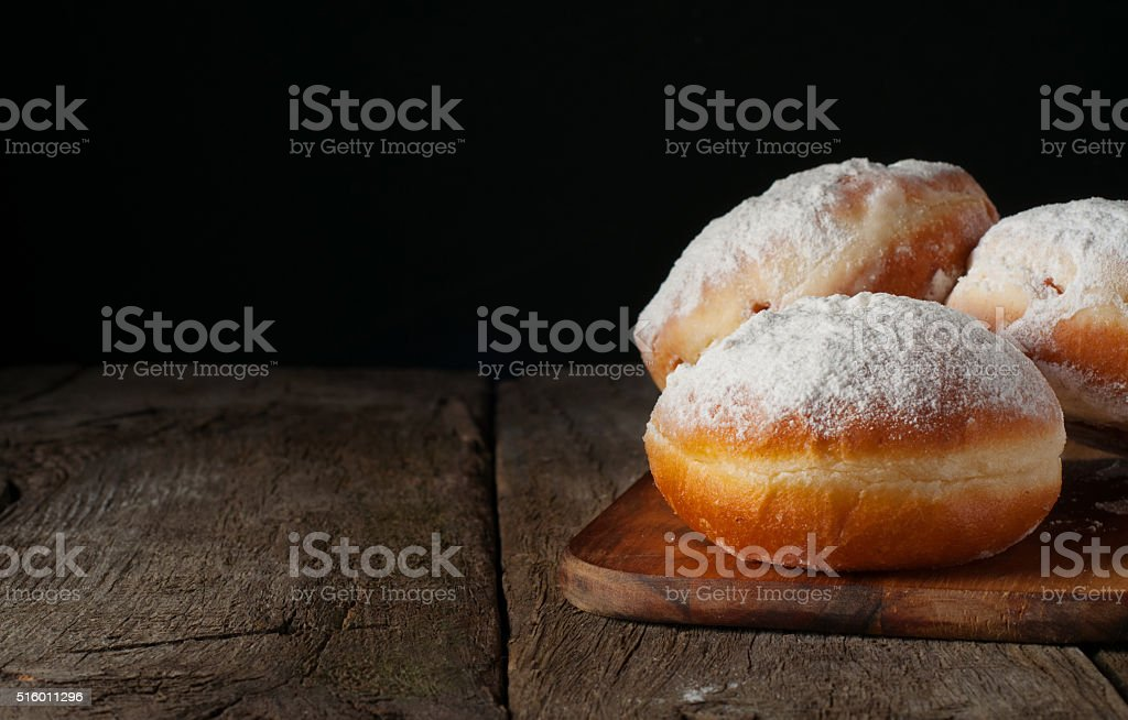 Donuts with powdered sugar stock photo