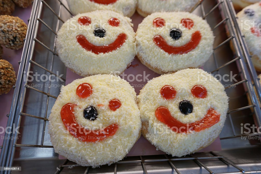 Donuts with smile stock photo