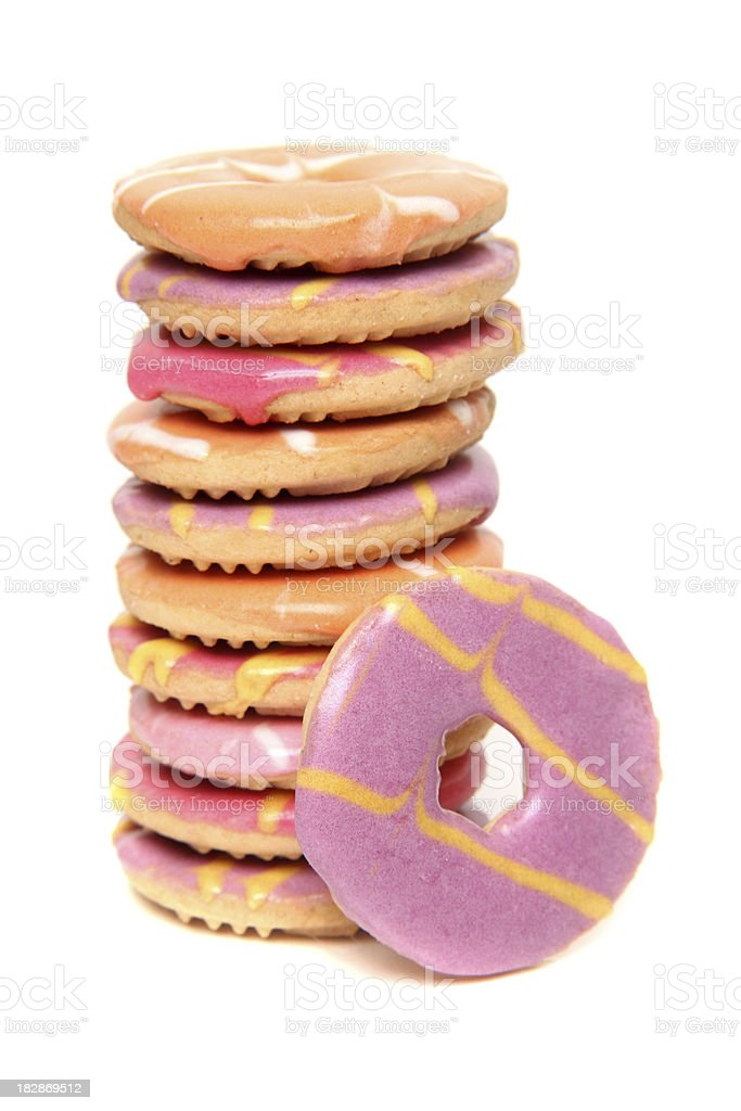 Donut-shaped and colorful party cookies royalty-free stock photo