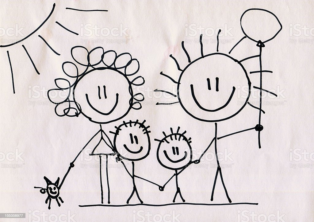 A doodle of a happy family on a piece of paper stock photo