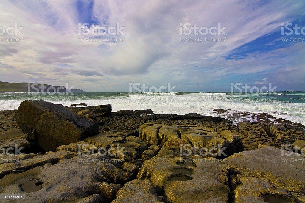 Doolin's Bay, The Burren. Panorama royalty-free stock photo
