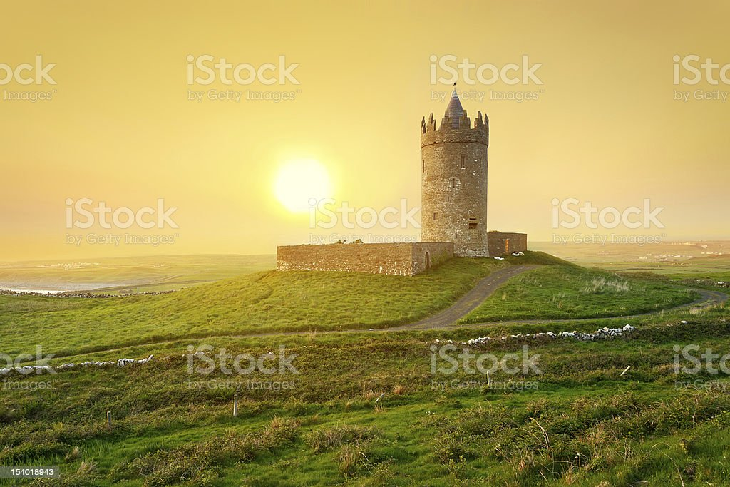 Doonagore castle at sunset royalty-free stock photo