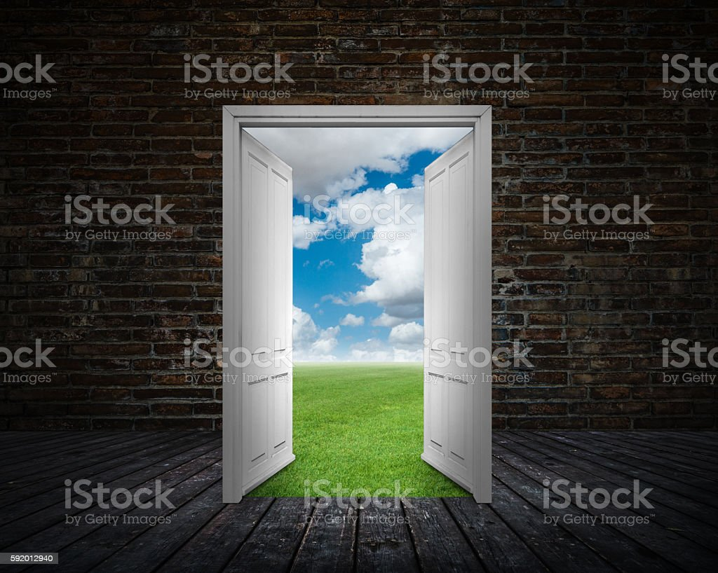 Door and change stock photo