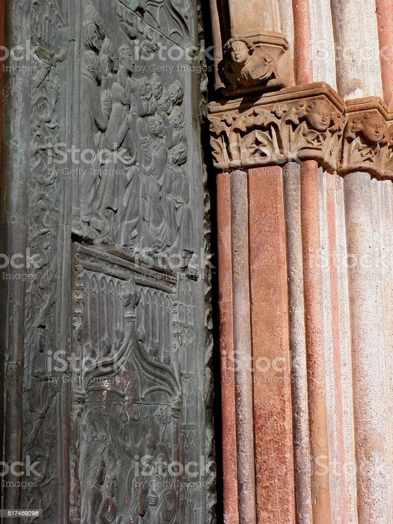 Door and Column of Monastery at Guadalupe stock photo