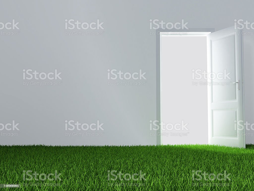 door and green lawn royalty-free stock photo