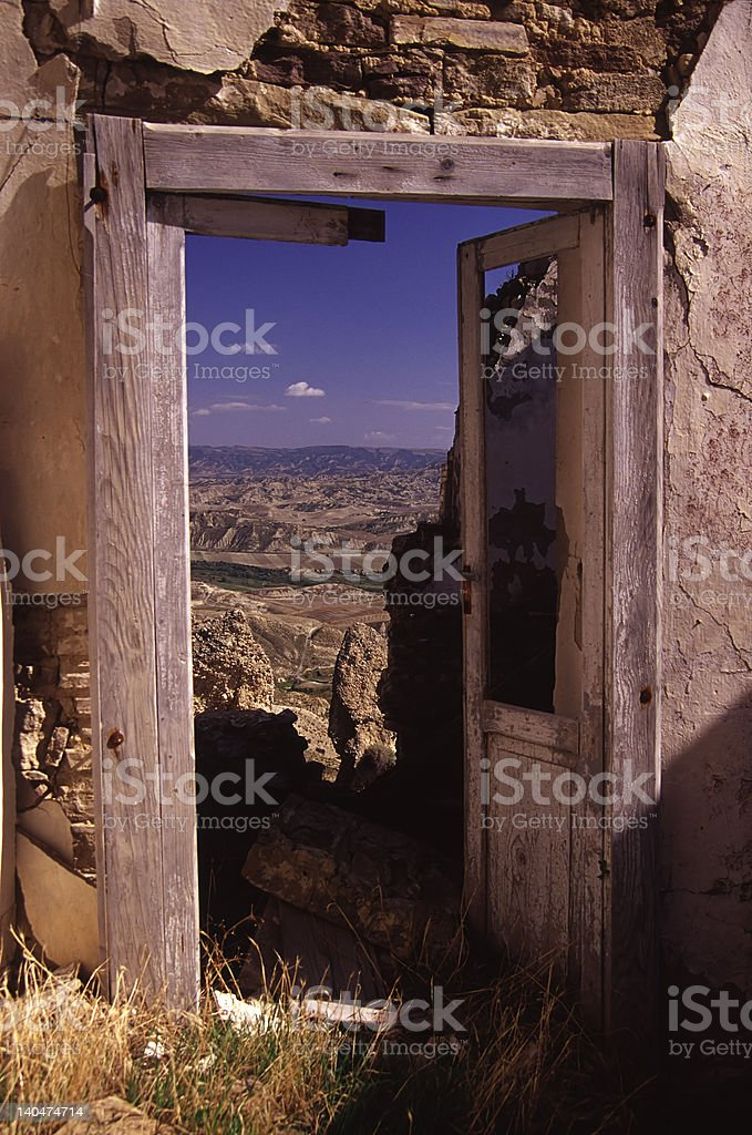 door and landscape royalty-free stock photo