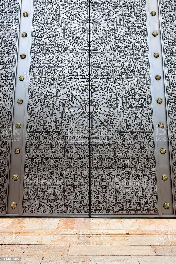 Door and Minaret of Hassan II Mosque, Casablanca, Morocco stock photo