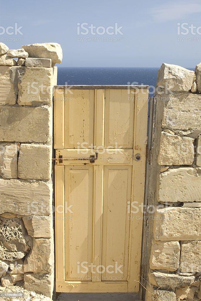 Door and sea stock photo