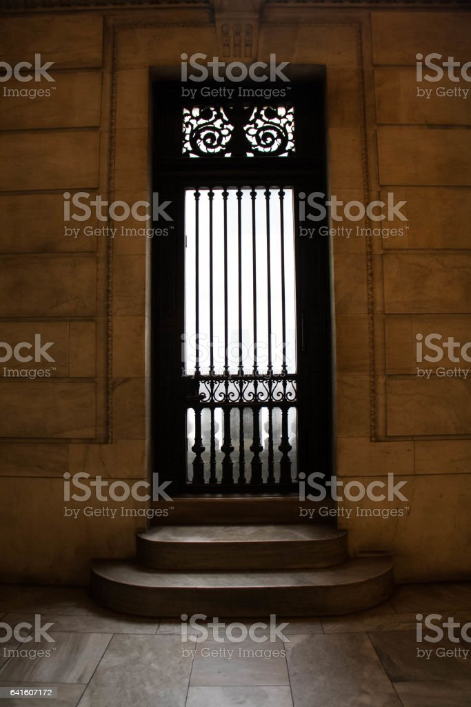 Door and stair at New York Library stock photo