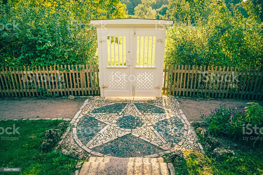 Door and Stone Star in Park stock photo