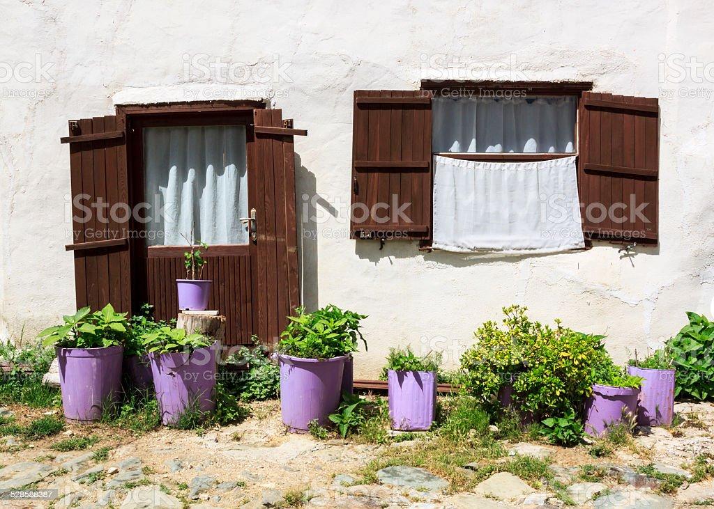 Door and window in Anatolian village stock photo
