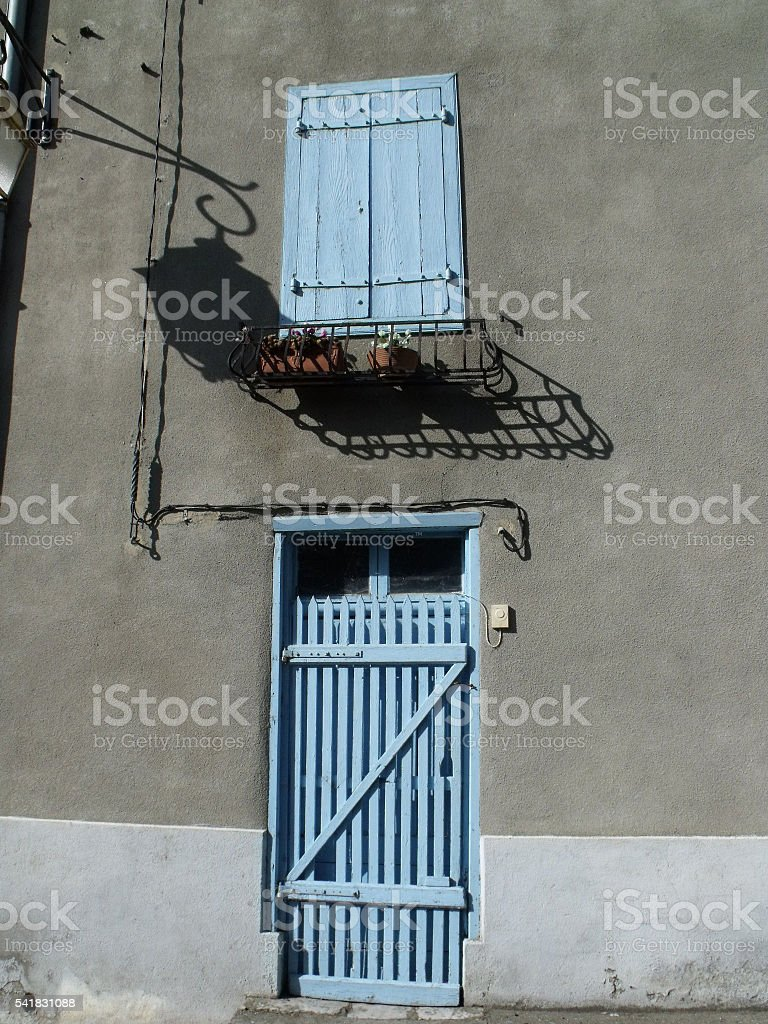 Door and window in rural France stock photo