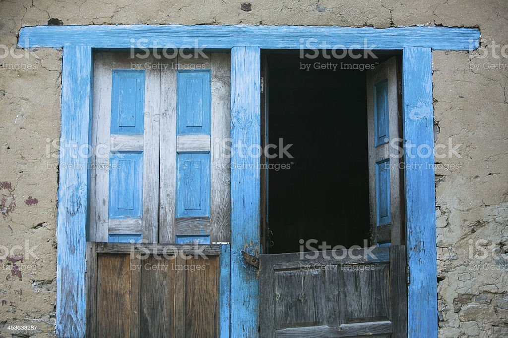 Door and windows on a hut in Nepal royalty-free stock photo