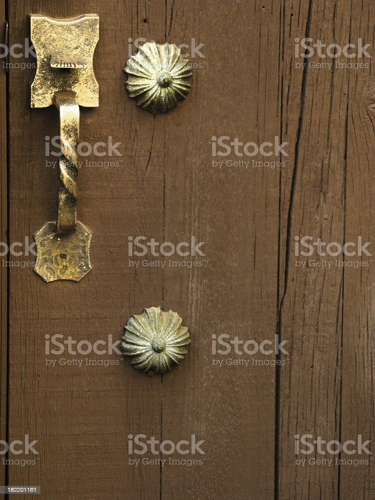 Door Antique Wooden Brass Handle royalty-free stock photo