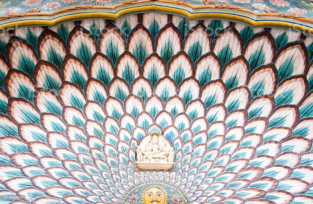Door arch of the Lotus Gate,City Palace,Jaipur stock photo