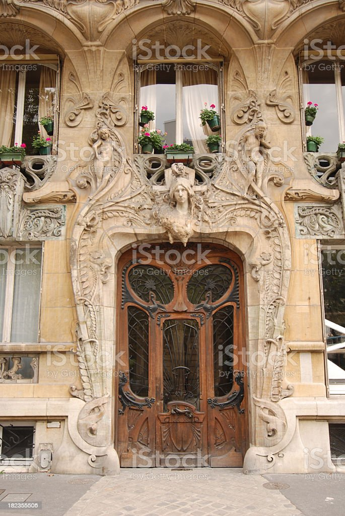 door at art nouveau building in paris royalty-free stock photo
