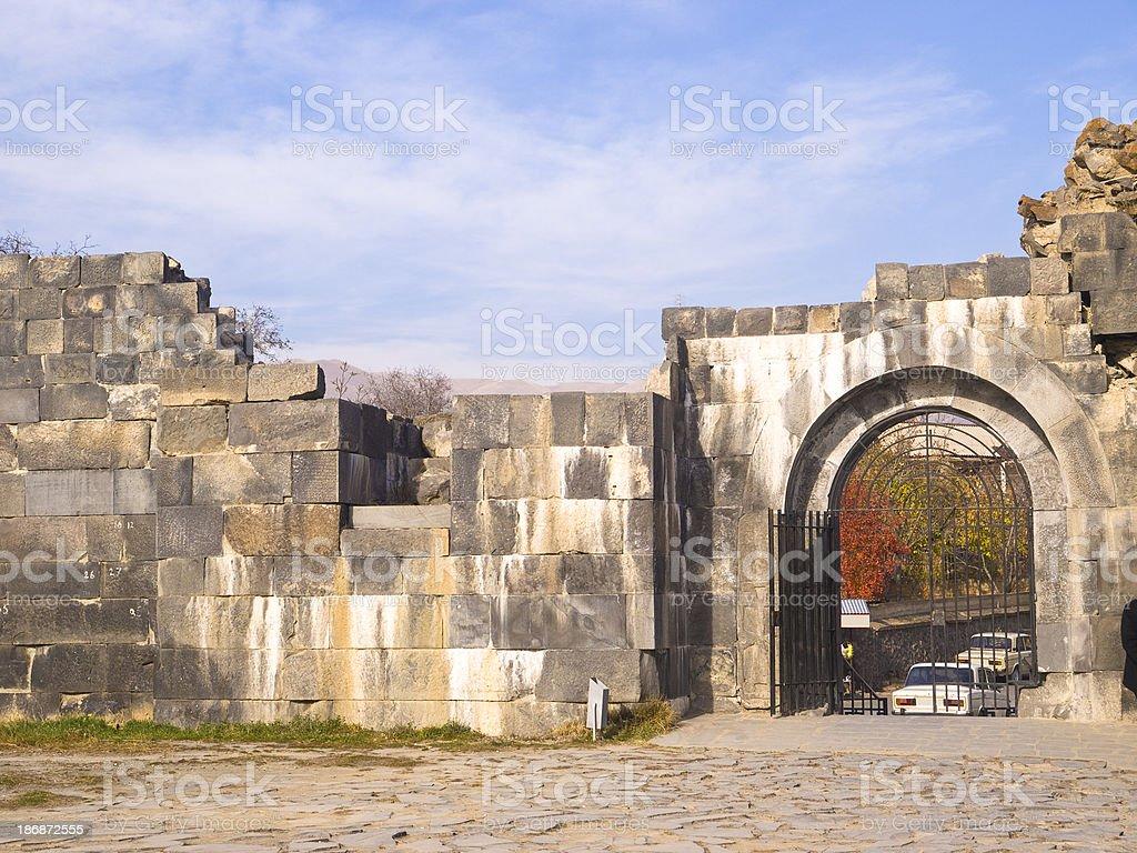 Door at Garni Temple royalty-free stock photo