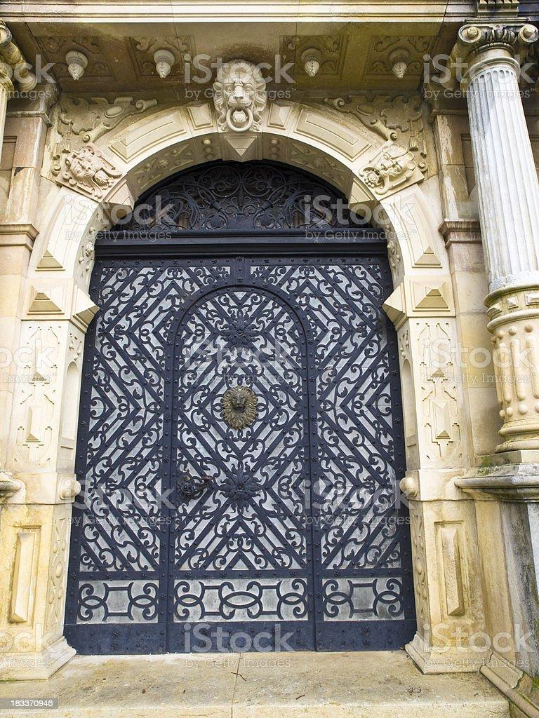 Door at  Peles castle stock photo