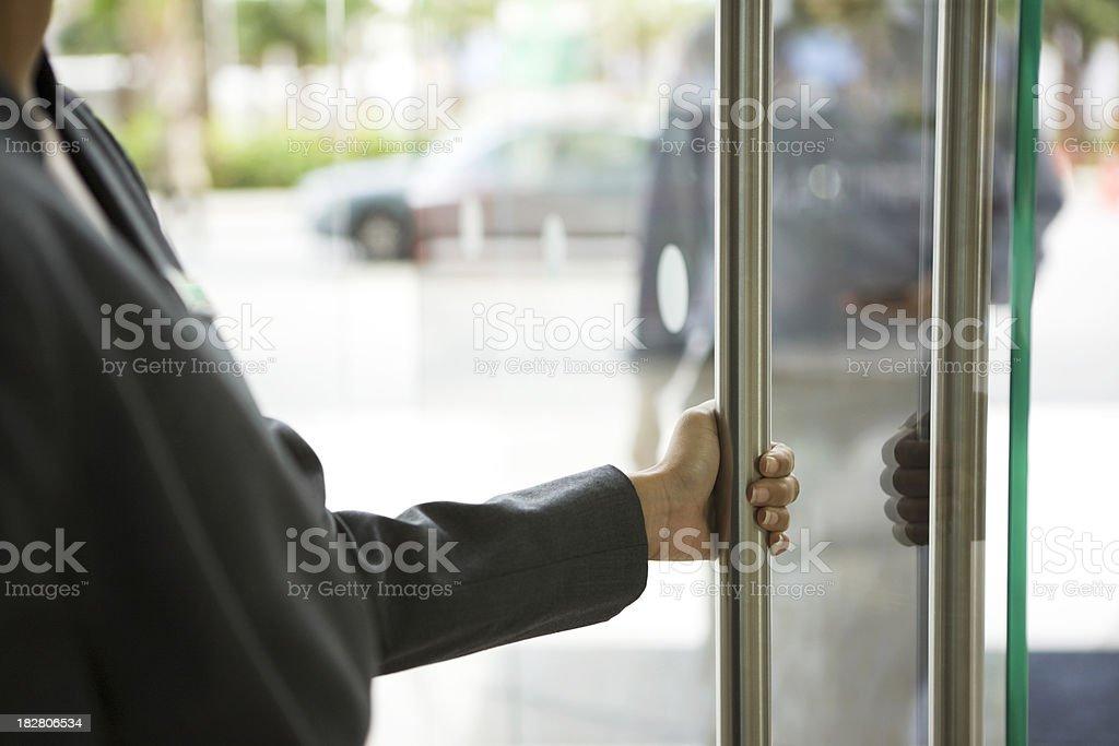 Door attendant stock photo