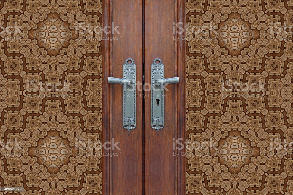 Door carved wood  close stock photo